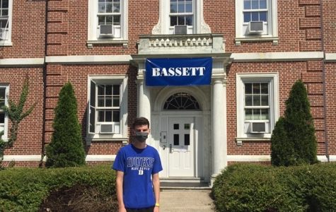 Michael Dillon finds himself in front of a Duke University building.