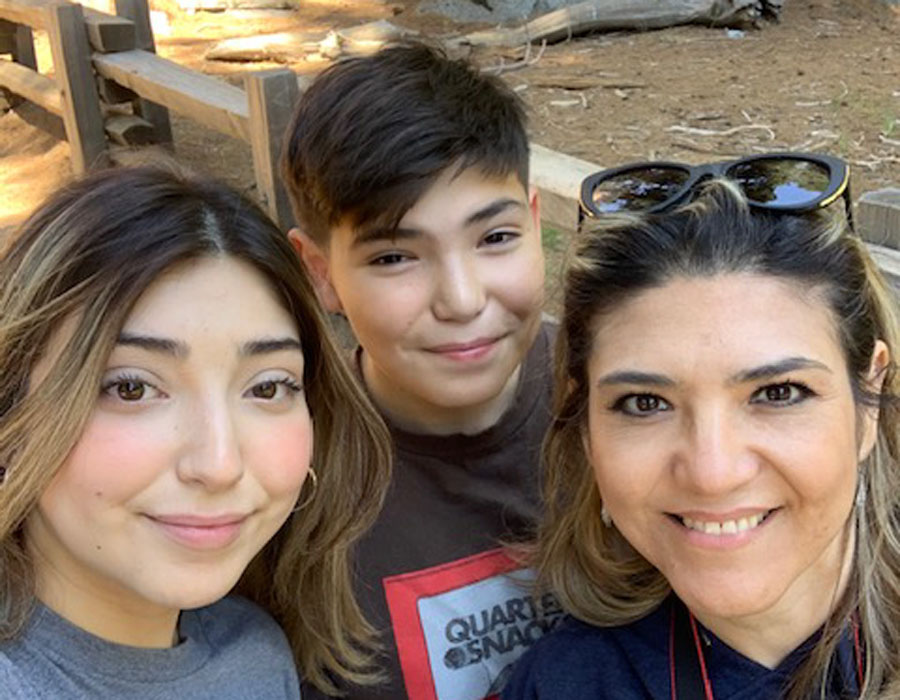 Spanish teacher Harris-Alarcon enjoys hiking in Sequoia National Park with her two children.