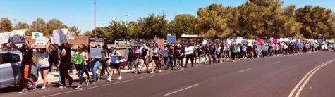 Marchers proceed towards China Lake Blvd.