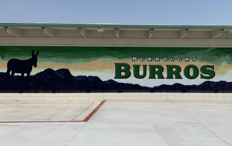 A burro mural is ready to welcome students back.