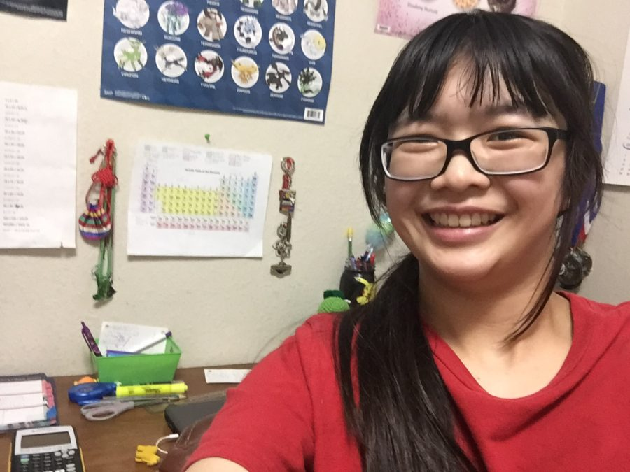 Senior Yuki Doung shows off her distant learning work station.