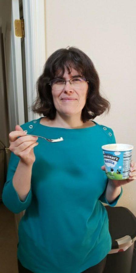 Spanish Teacher Loutas Kapeles enjoys to eat her favorite food