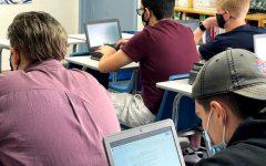 AP English students draft their essay responses on their personal Chromebooks.