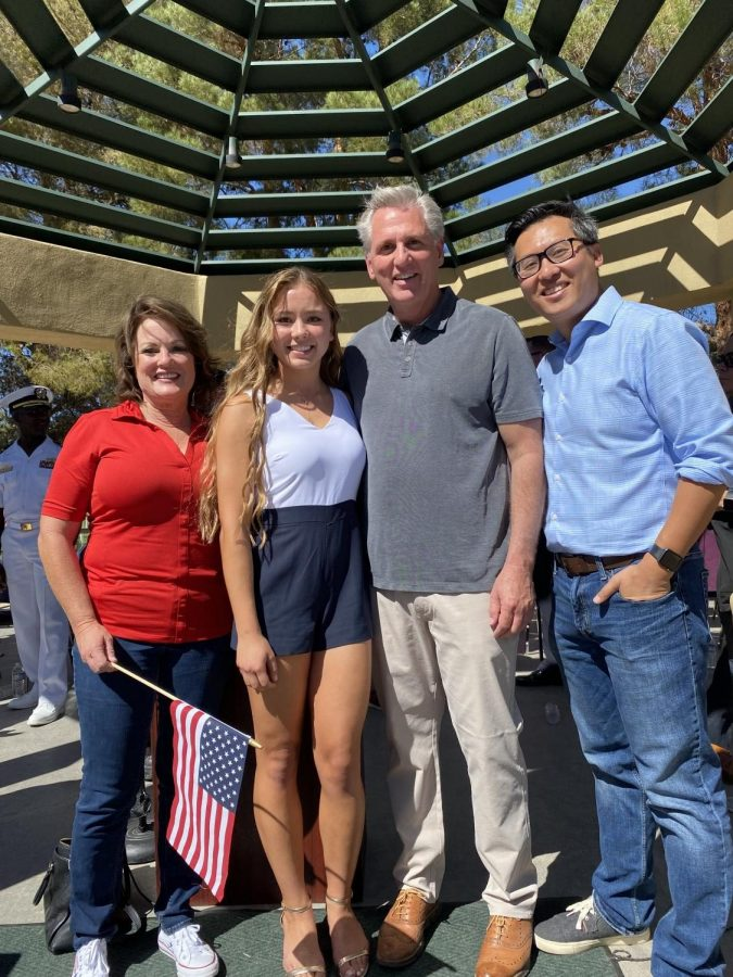 Burroughs senior Madison Johnson visits with Sen. Shannon Grove, House Minority Leader Kevin McCarthy, and Assemblyman Vince Fong during the 9/11 ceremonies.