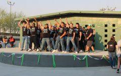 The Boys Varsity football team chanting during the Aug. 27 morning rally.